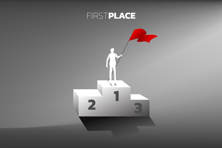 Silhouette of businessman with red flag on champion podium. Business Concept of winner and success