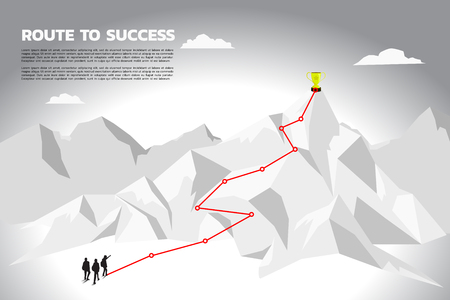 Silhouette team businessman plan to get champion trophy on top of mountain. Concept of teamwork and planning path in business Illusztráció