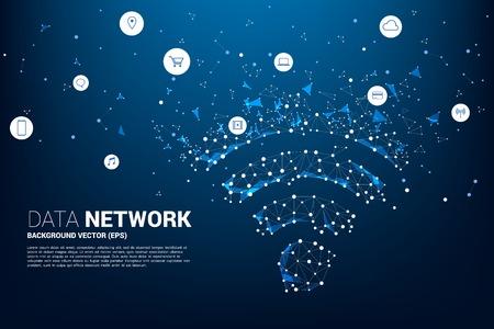 Señalización de datos móviles de estilo de placa de circuito de línea de conexión de punto vectorial con icono funcional. Concepto de transferencia de datos de redes de datos móviles e inalámbricas.