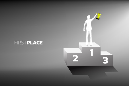 Silhouette of businessman with champion trophy on first place podium. Business Concept of winner and success