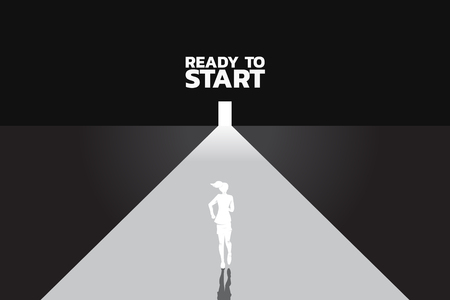 Find the way out. Silhouette of businesswomen ready to run to outside the door. Concept of people ready to start career and business