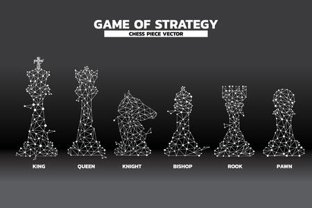 kropka niskiej wielokąta połączona linia wektora pionka szachowego. ikona planowania i myślenia strategicznego