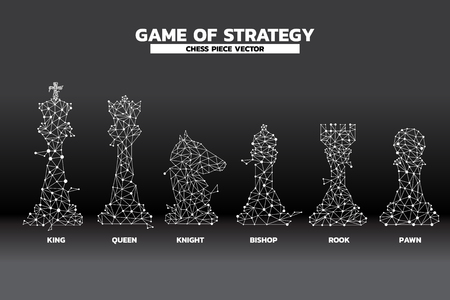 niedriger Polygonpunkt verbundene Linie des Schachfigurenvektors. Symbol für Planung und Strategiedenken strategy