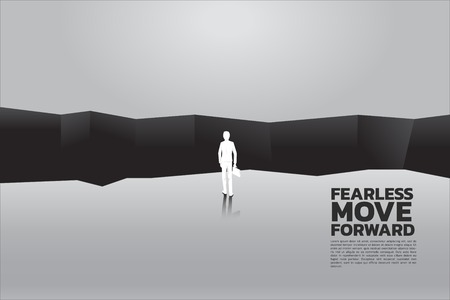 silhouette of businessman with briefcase step forward to abyss. concept of business challenge and courage man Illustration