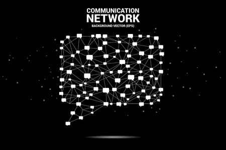 Sprechblasensymbol mit Punkt- und Linienverbindungen. Konzept des Kommunikationsnetzes. Vektorgrafik