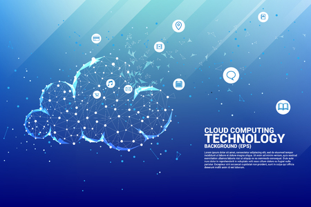 Cloud computing network technology polygon dot connected line with icon : Concept of cloud server, Storage and data
