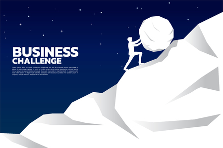 Silhouette of businessman pushing the big rock to the top of mountain. concept of business challenge and hard work. Illustration