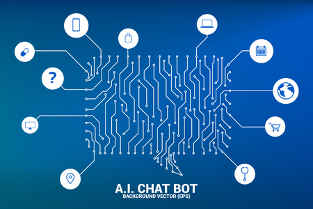 Artificial intelligence Chat bot service with dot connected line style background with circuit board graphic style. speech bubble with various icon. Vetores