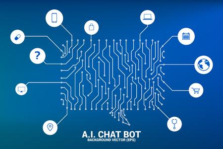 Service de bot de chat d'intelligence artificielle avec fond de style de ligne connectée par point avec style graphique de carte de circuit imprimé. bulle de dialogue avec diverses icônes. Vecteurs
