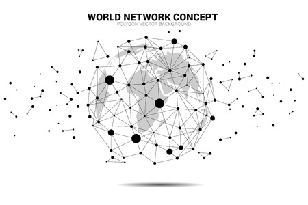 Globe 3D World map wireframe dot connect line polygon. concept of global Digital network