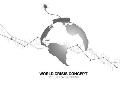 Konzept der Weltwirtschaftskrise. Zeitbombe mit Erdplaneten-Weltkarte mit Aktiendiagramm.