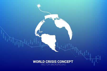 concetto di crisi economica mondiale. bomba a orologeria con la mappa del mondo del pianeta terra con grafico azionario.