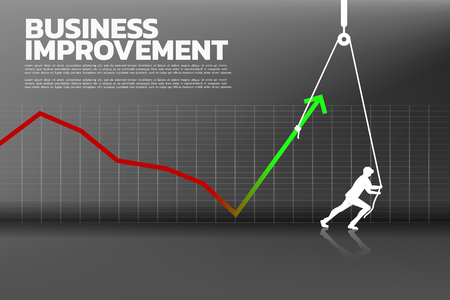 Silhouette of businessman pull up the business graph with rope and reel. concept of business improvement.
