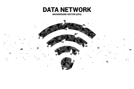 Vector Polygon mobile data icon. Concept for data transfer of mobile and wireless data network.