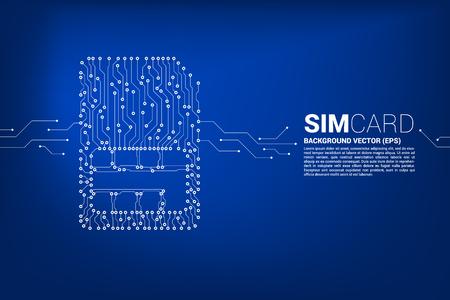 Vector veelhoek stip sluit lijnvormige sim-kaart pictogram printplaat stijl. Concept voor mobiele simkaarttechnologie en netwerk.