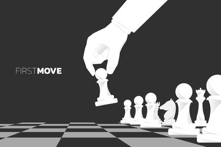 Close up hand move pion pièce d'échecs pour commencer le jeu. concept de stratégie commerciale et de plan marketing de premier mouvement.