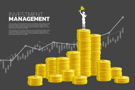 Silhouette of businesswoman with winner trophy standing on top of and growth graph with stack of coin. Concept of success investment and growth in business