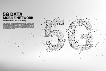 Vector Polygon dot connect line shaped 5G mobile networking networking. Concept for mobile sim card technology and network.