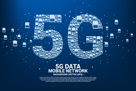 5G from mobile sim card networking. Concept for mobile telecommunication global network. Illustration