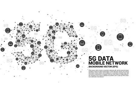 5G Data technology from device icon. Concept for mobile telecommunication global network.