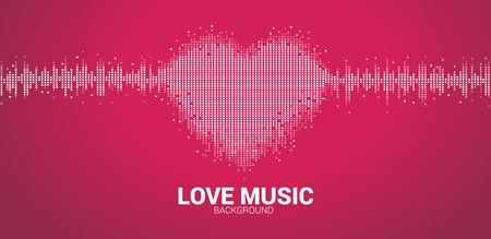 Icona del cuore dell'onda sonora Fondo dell'equalizzatore di musica. amo lo stile pixel del segnale visivo della musica