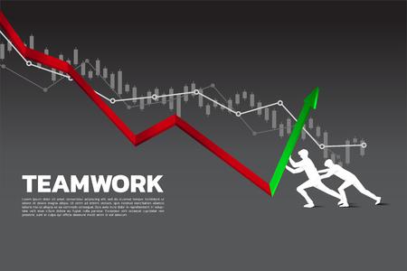Silhouette de deux hommes d'affaires poussant le graphique vers le haut. Arrêter la crise financière. concept de défi commercial et de travail d'équipe.