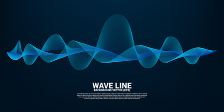 Blue Sound wave line curve on dark background. Element for theme technology futuristic vector Vektorgrafik