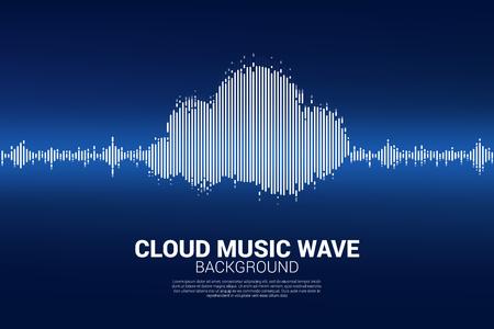 Cloud music and sound technology concept .equalizer wave as cloud shape Ilustração