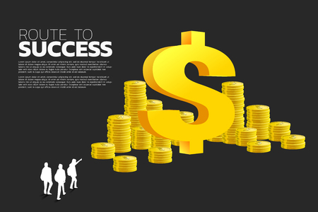 silhouette of businessman group point to dollar money icon and stack of coin. Concept of success business and Career path.