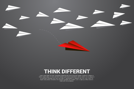 red origami paper airplane going out from group of white. Business Concept of disruption and vision mission.