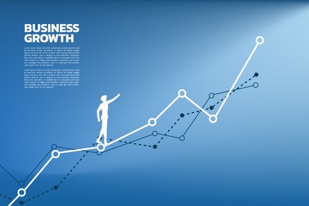 silhouette of businessman point to higher of graph. Concept of route to success. Goal Mission Vision success in career path. Illustration
