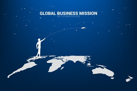 silhouette of businessman throw origami airplane on world map. Concept of world business market vision mission start up Ilustração
