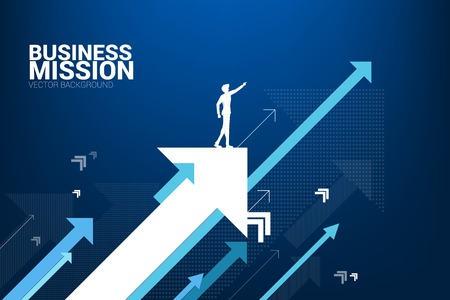 Silhouette of businessman point forward on moving up arrow. concept of growth business and leadership. Illustration