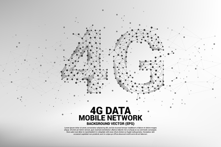 Vector Polygon dot connect line shaped 4G mobile network. Concept for mobile phone data sim card technology. Çizim