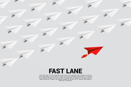 red origami paper airplane is move faster than group of white. Business Concept of fast lane for moving and marketing Stock Illustratie
