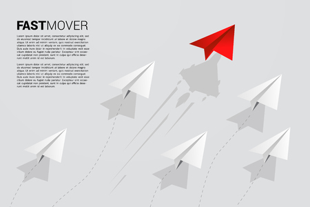red origami paper airplane is move faster than group of white. Business Concept of fast lane for moving and marketing 向量圖像