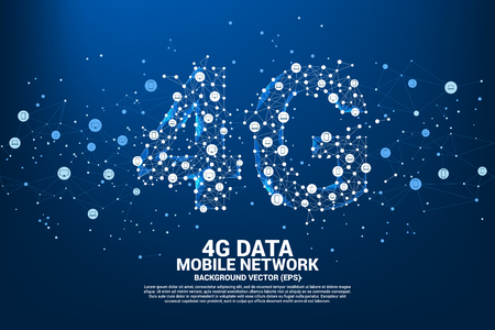 Vector Polygon dot connect line shaped 4G mobile network with device icon. Concept for telecommunication and mobile phone technology.