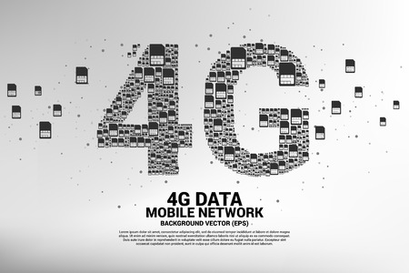 4G from mobile sim card networking. Concept for mobile telecommunication technology