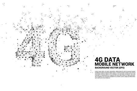 Vector Polygon dot connect line shaped 4G mobile network. Concept for mobile phone data sim card technology. Illustration