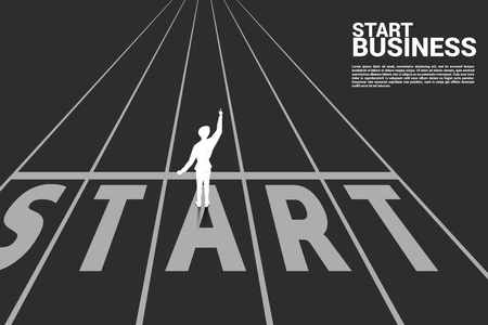 Silhouette of businessman point up to the start line on track. business concept for start up business. Ilustrace