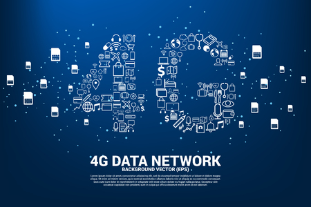 Vector Polygon dot connect line shaped 4G mobile network with function icon. Concept for telecommunication and mobile phone technology.