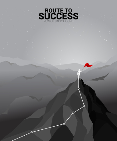 silhouette of businessman with the red flag standing on the top of mountain. Concept of Goal, Mission, Vision, Success in Career path. Çizim