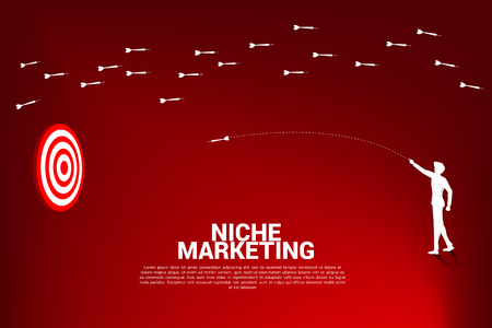 silhouette of businessman throw out dart arrow to hit the dartboard from another way. Business Concept of niche marketing, targeting and customer. Company vision mission. Illustration