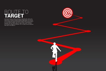 silhouette of businessman running on route to dartboard. Business Concept of route to goal.