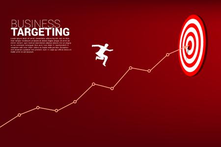 silueta de empresario saltando en el gráfico de líneas al centro de la diana. Concepto de negocio de focalización y cliente.ruta hacia el éxito.