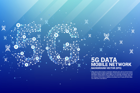Vector Polygon dot connect line shaped 5G mobile network with antenna tower icon. Concept for telecom technology. 矢量图像