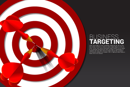 dart arrow hit the center of dartboard . Business Concept of marketing target and customer.Company vision mission and goal. Vektorové ilustrace
