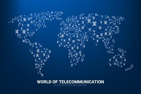 L'icona della torre dell'antenna del poligono di vettore collega la linea alla forma della mappa del mondo. Concetto per il servizio e la rete di telecomunicazioni internazionali.