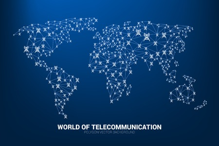 Vector Polygon antenna tower icon connect line to world map shape. Concept for international telecom service and network.