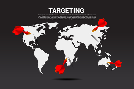 dart arrow hit on world map. Business Concept of global marketing target and customer.Company vision mission and goal.